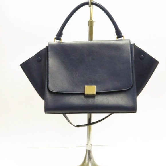 46a1bee7dd Celine Handbags - Celine Trapeze Medium Shoulder Bag Navy
